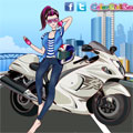 Cool Girl On Motorcycle